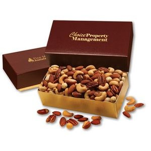 Deluxe Mixed Nuts in Burgundy & Gold Gift Box