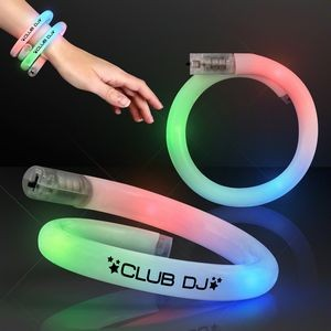 White Tube Bracelets w/Flashing Rainbow LEDs
