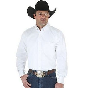 Wrangler® Men's George Strait Year Round Collection Long Sleeve Shirt (White)